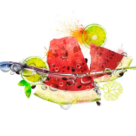 Vector juicy fruits in water, watermelon, lime, splashing water with bubbles, rich bright colors, watercolor