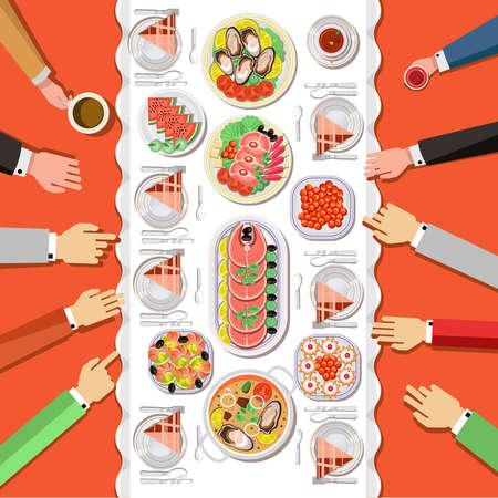 Ð¡atering partij met mensen handen en een tafel van gerechten van het menu, bovenaanzicht. Vector flat illustration.Catering bedrijf