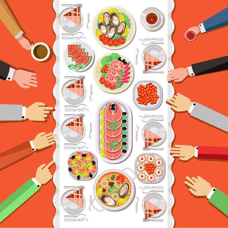 table top: Ð¡atering party with people hands and a table of dishes from the menu, top view. Vector flat illustration.Catering business Illustration