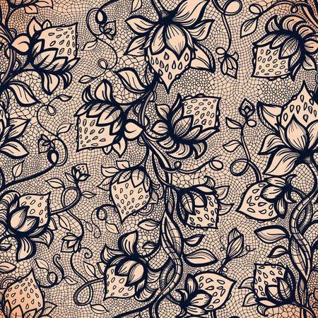 fabric patterns: Vector lace seamless pattern decorative strawberry,leaves,intertwined with viscous of lines.Infinitely wallpaper,decoration your design,lingerie and jewelry.Your invitation cards, wallpaper,and more.