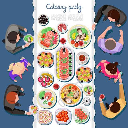 stravování: atering party s lidmi a stůl jídel z menu, pohled shora. Vector byt illustration.Catering podnikání