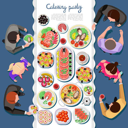 happy people: atering party with people and a table of dishes from the menu, top view. Vector flat illustration.Catering business