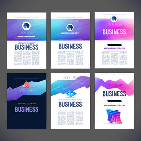 design vector: Abstract vector set template design to, brochure, flyer, page, leaflet, with colorful geometric triangular figures in perspective, logo and text separately.