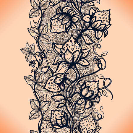 layout strawberry: Vector lace seamless pattern decorative strawberry,leaves,intertwined with viscous of lines.Infinitely wallpaper,decoration your design,lingerie and jewelry.Your invitation cards, wallpaper,and more.