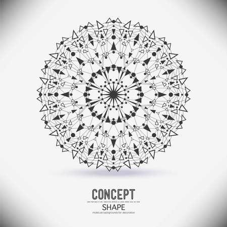 textures: Abstrakte geometrische Formen von kreisförmigen Punkten und Dreiecken durch einen molekularen Gitternetzstruktur verbunden ist. Illustration