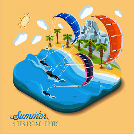 water skiers: Summer kitesurfing sport.Part of the land to the sea and the mountains,palm trees and people skiers on the water,paradise,summer vacation,sea,ocean,on the beach.Vector work flat isometric 3D concept.