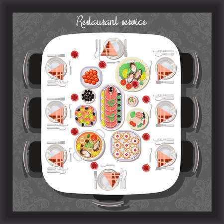 food restaurant: Buffet meals served to receive guests in the restaurant, cafe, top view.Vector flat illustration.Catering business