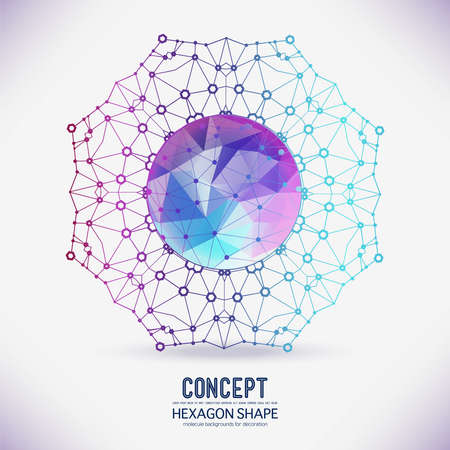Abstract geometric lattice, the scope of molecules, the molecules in the circle a polygonal figure in the center. Round composition of the molecular lattice. Color composition vector for your design. 일러스트