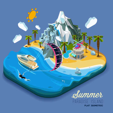 海と山、ヤシの木とヨット、パラダイス、夏休み、海、ビーチで海に土地の一部です。カイト サーフィンのスポーツ。ベクトルは、フラット等尺性