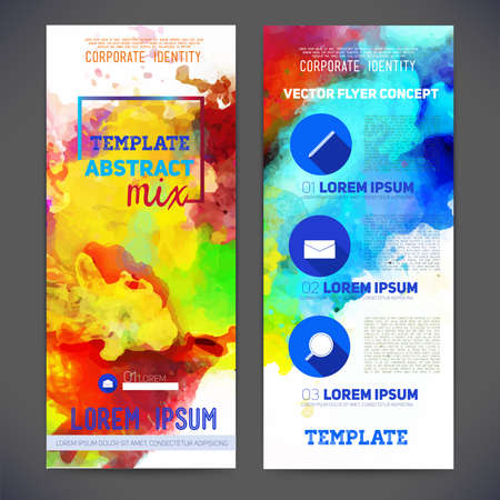 printing business: Abstract vector template design, brochure, Web sites, page, leaflet, with colorful watercolor backgrounds, logo and text separately.