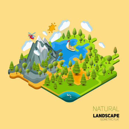 work environment: Environment friendly natural landscape with mountains river and forest around. Vector work flat isometry 3D concept.