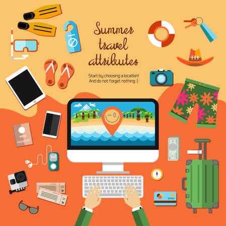 旅行: ベクトル旅行、夏の時間、観光、ビーチ、海、ガジェット、パスポート、チケット、バッグ、カード、お金の必要な項目のフラットなセットです。