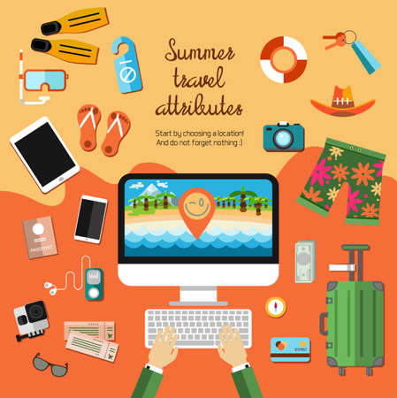 Vector flat set of items required for travel, summer time, leisure, beach, sea, gadgets, passport, tickets, bag, card, money.Background for summer design. Ilustração