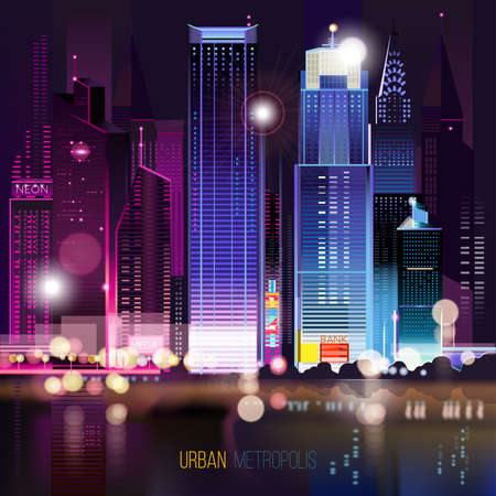 bokeh background: Abstract urban night landscape with parts of buildings and bridge,lights cars,city,metropolis. Vector background. Effect blur, bokeh, light point, color flows. The world of light and color. handiwork.