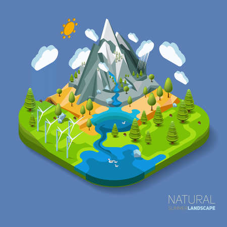 ecosistema: Ambiente agradable paisaje natural con montañas río y el bosque alrededor. Trabajo vectorial plana concepto 3D isométrica.