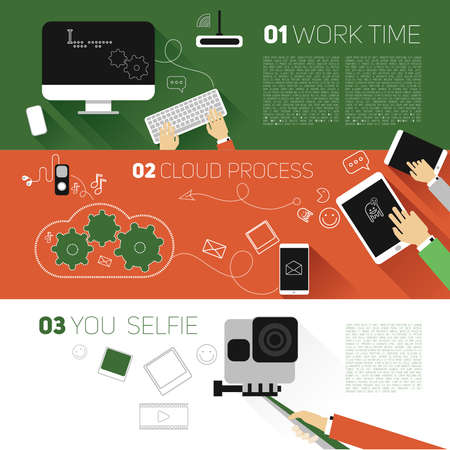 gadget: Vector flat banners gadget, interaction between an equipment, data storage file. Monitor, computer, phone,camera, player, headphones,