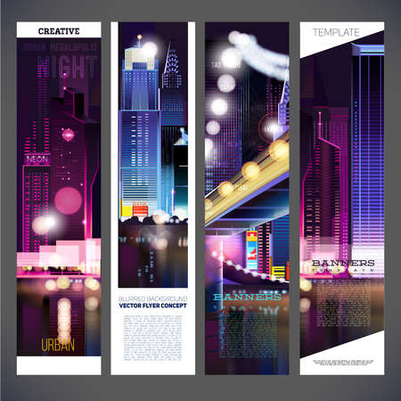 street night: Banners urban night city vector template design, flyer,brochure,element, page, leaflet, with text separately for you.