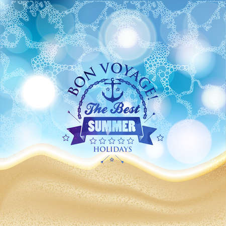 sand background: Vector summer background with label in the middle and foam with waves and beach sand. Part of the land and the sea, ocean, background for summer design. Illustration