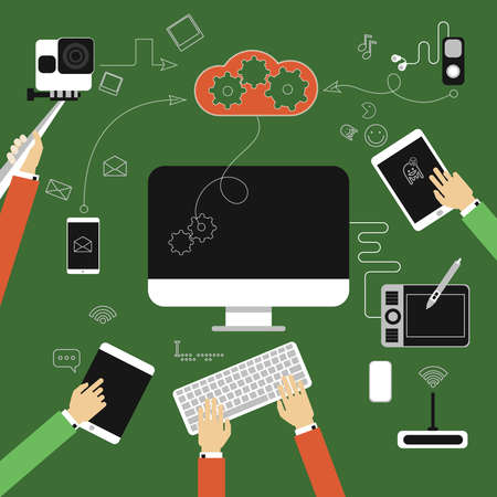 laptop: Vector flat gadget, interaction between an equipment, data storage file. Monitor, computer, phone,camera, player, headphones, Illustration