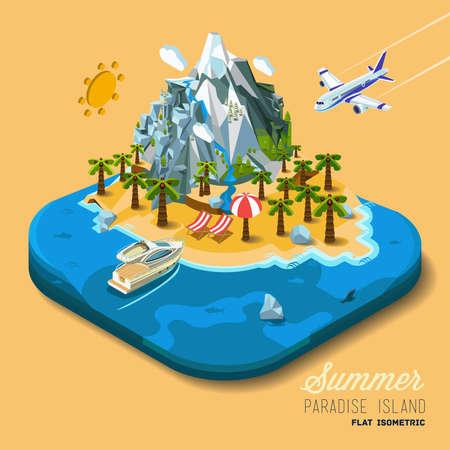 Ein Teil des Landes auf das Meer und die Berge, Palmen und einer Yacht, Paradies, Sommerferien, Meer, Meer, am Strand. Reise, ins Flugzeug springen. Vector Arbeit Flach isometrische 3D-Konzept.