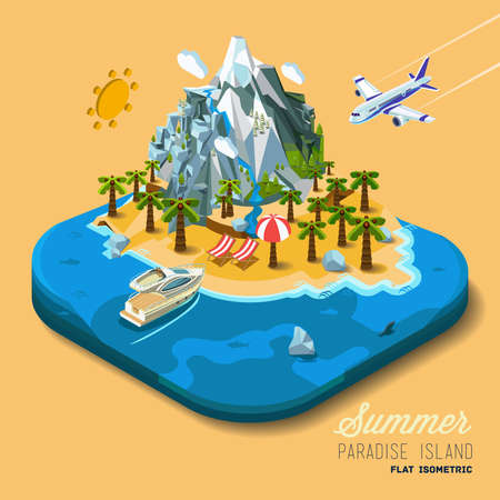 vacation: Part of the land to the sea and the mountains, palm trees and a yacht, paradise, summer vacation, sea, ocean, on the beach. Travel, hop on a plane. Vector work flat isometric 3D concept.