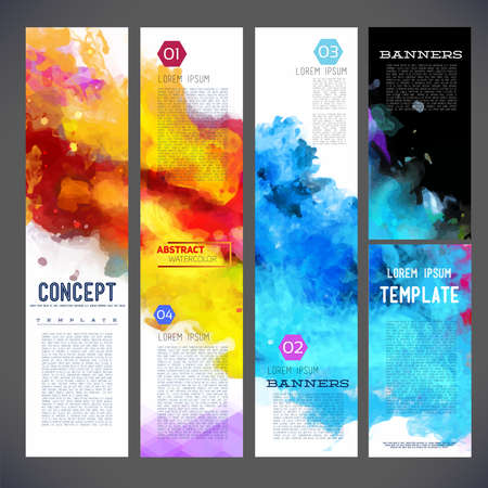Abstract vector template banners, brochure, Web sites, page, leaflet, with colorful watercolor backgrounds, logo and text separately.