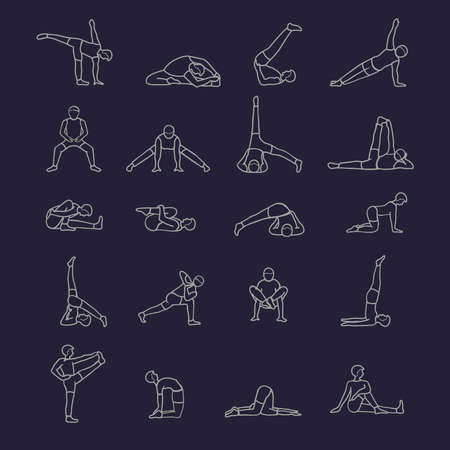pilates man: 20 products yoga asanas vector people. Illustration