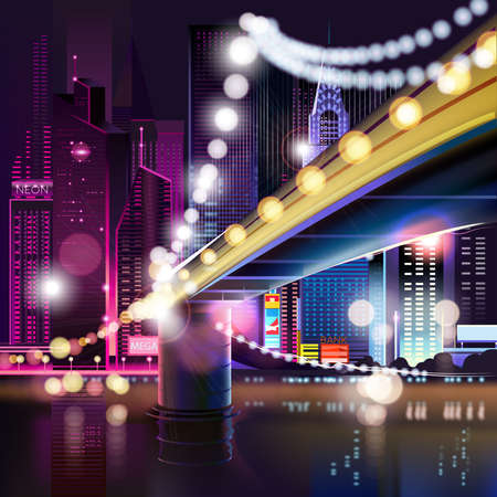 metropolis: Abstract urban night landscape with parts of buildings and bridge,lights cars,city,metropolis. Vector background. Effect blur, bokeh, light point, color flows. The world of light and color. handiwork.