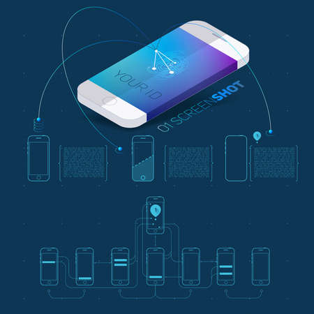 screenshot: Mobile application concept of phone with color screenshot description and flat wireframes.Vector Illustration. Illustration