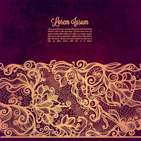 lace frame: Vintage card on grunge background.Template frame design for card. Vintage Lace Doily. Illustration