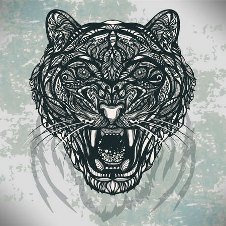 Figure vector wild animal tiger with a grin of decorative pattern of lines and dots on the shabby background. Can be used for printing, tattoos and jewelry for you. work of the author.