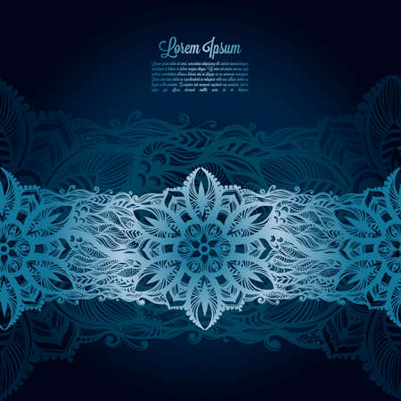 poems: Vintage lace on blue background.Template frame design for card, lace Doily. Illustration