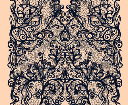 royal wedding: Abstract lace ribbon vertical seamless pattern. Template frame design for card. Lace Doily. Can be used for packaging, invitations, and template.