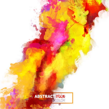 Palette d'aquarelle abstraite vectorielle de couleurs mélangées, un mélange de couleurs, des taches avec un jet d'aquarelle, le travail de l'auteur.