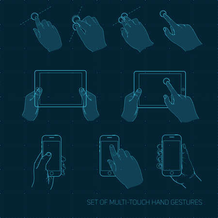 multitouch: Vector set of multitouch hand gestures on the smartphone and tablet
