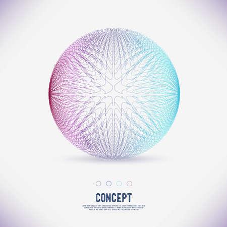 行の抽象的な概念幾何学的面積円絡み合って、分子の範囲、グリッドのラウンド構成。あなたのデザインの色成分のベクトル。