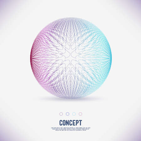 Abstract concept geometric area circle of lines intertwined, the scope of molecules, Round composition of the grid. Color composition vector for your design.