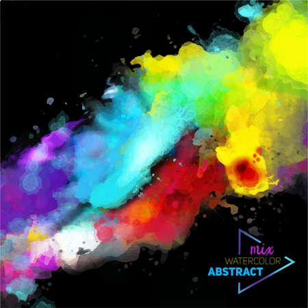 Paleta de acuarela abstracta de vector de mezcla de colores, una mezcla de colores, manchas con un spray de acuarelas, obra del autor. Ilustración de vector