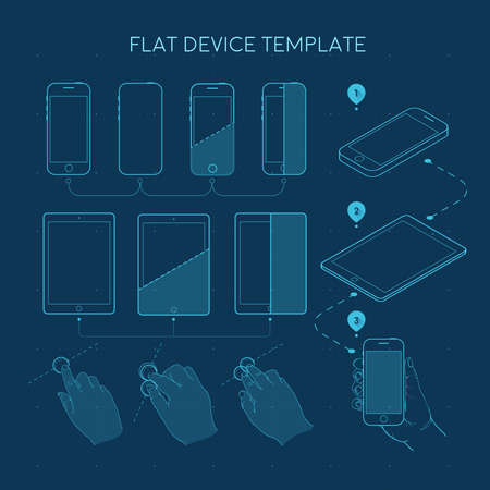 line drawings: Template Flat devise line drawings gadgets and combinations of hands when you use the on-screen interaction schemes