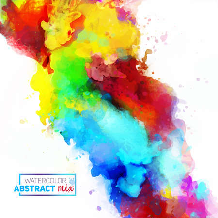 Vector abstract watercolor palette of mix colors, a mixture of colors, stains with a spray of water colors, the author's work. 스톡 콘텐츠 - 110177347