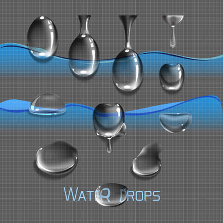 condensation on glass: Vector set water drops, transparent, suitable for any background set with shadow and without different species, an example of using