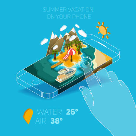 waterfall: Flat vector Isometric composition on screen phone. Summer vacation on the island. Paradise with palm trees, a waterfall and a yacht. Pictured 3d isometric concept.