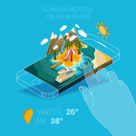 Platte vector isometrische samenstelling op het scherm van de telefoon. Zomer vakantie op het eiland. Paradijs met palmbomen, een waterval en een jacht. Afgebeeld isometrische 3D-concept.