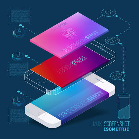 Mobile application concept of phone with color screenshot description and flat wireframes.