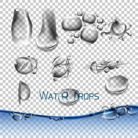 for example: Vector set water drops, transparent, suitable for any background set with shadow and without different species, an example of using.