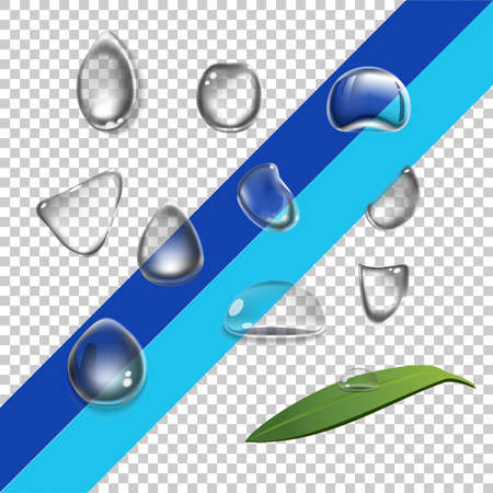 for example: Vector set water drops, transparent, suitable for any background set with shadow and without different species, an example of using