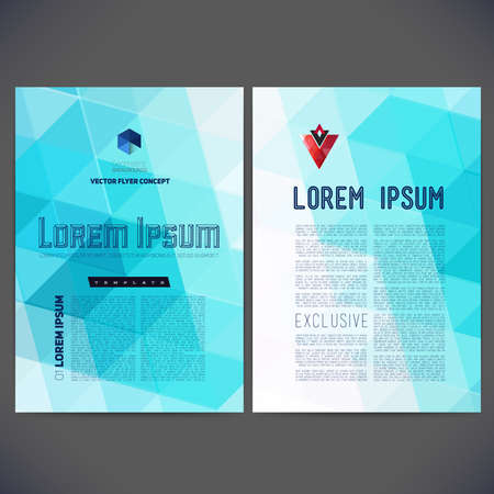 triangular: Abstract vector template design, brochure, Web sites, page, leaflet, with colorful geometric triangular backgrounds, logo and text separately. Illustration