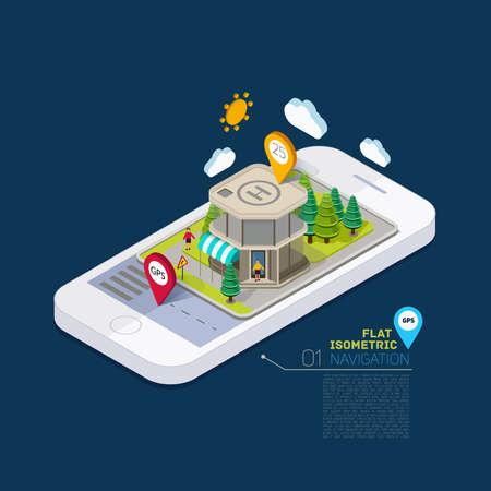 mapa conceptual: Paisaje llano calle infograf�a concepto 3D isom�trica en el tel�fono. Edificio de localizaci�n de aplicaciones en el paisaje natural. Vectores