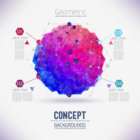 抽象的な概念の幾何学的な格子、六角形の分子の範囲。途中で幾何学的な図と分子格子のラウンド構成。あなたのデザインの色成分のベクトル。