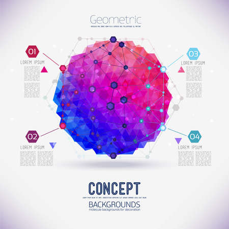 biology backgrounds: Abstract concept geometric lattice, the scope of molecules, the molecules in the hexagon. Round composition of the molecular lattice with geometrical figure in the middle. Color composition vector for your design.